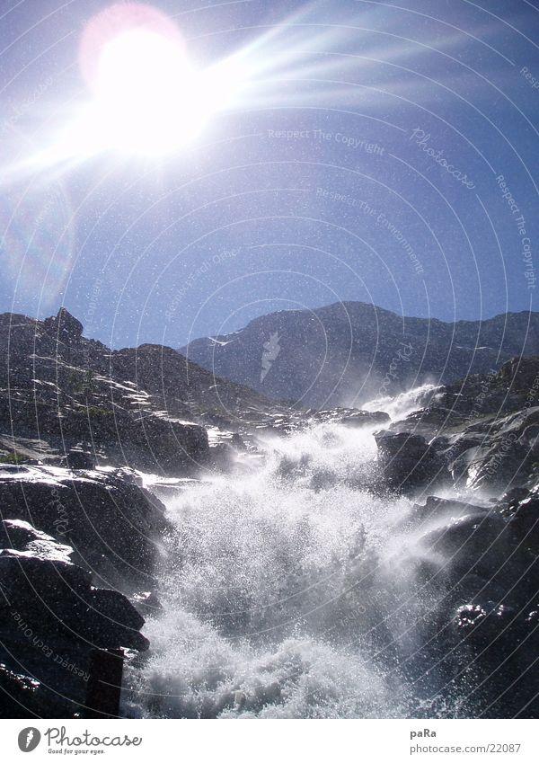 Sun Summer Mountain Europe Switzerland Alps Brook Waterfall Canton Wallis Saas-Grund