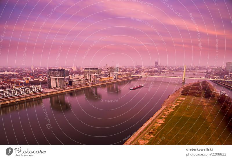 Cologne, early in the morning Lifestyle Town Downtown Skyline Beautiful Happy Horizon Home country Deutzer Bridge Dawn Rhine Watercraft Cologne Cathedral Dome