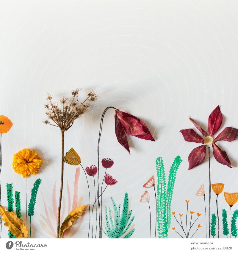 Flowers and watercolor Leisure and hobbies Handicraft Draw Painting (action, artwork) Nature Plant Autumn Leaf Paper Decoration Illuminate Dream Elegant Natural