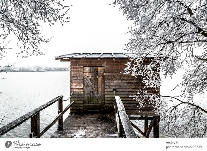 lair Winter Snow Nature Landscape Climate Lake Hut Footbridge Cold Brown White Safety Protection Safety (feeling of) Adventure Loneliness Environment Wood Ice
