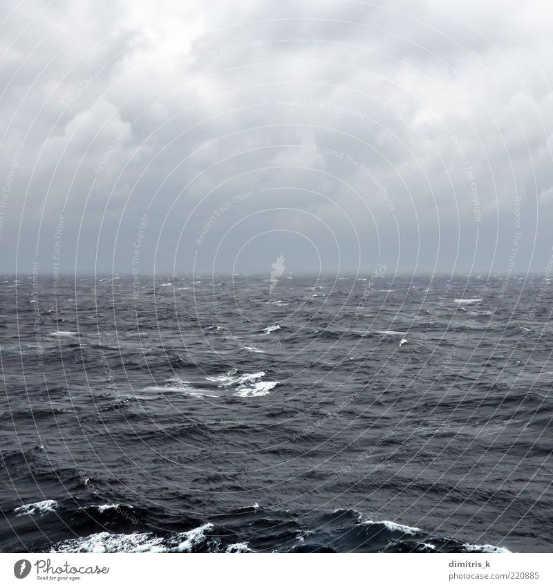 restless deep sea Nature Sky Ocean Blue Black Clouds Far-off places Dark Landscape Waves Coast Background picture Wind Weather Horizon Passion
