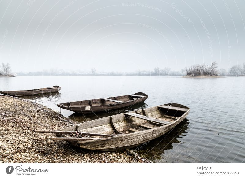 hibernation Nature Landscape Water Sky Winter Lakeside Rowboat Motor barge Watercraft Old Cold Loneliness Grief Sadness Colour photo Subdued colour