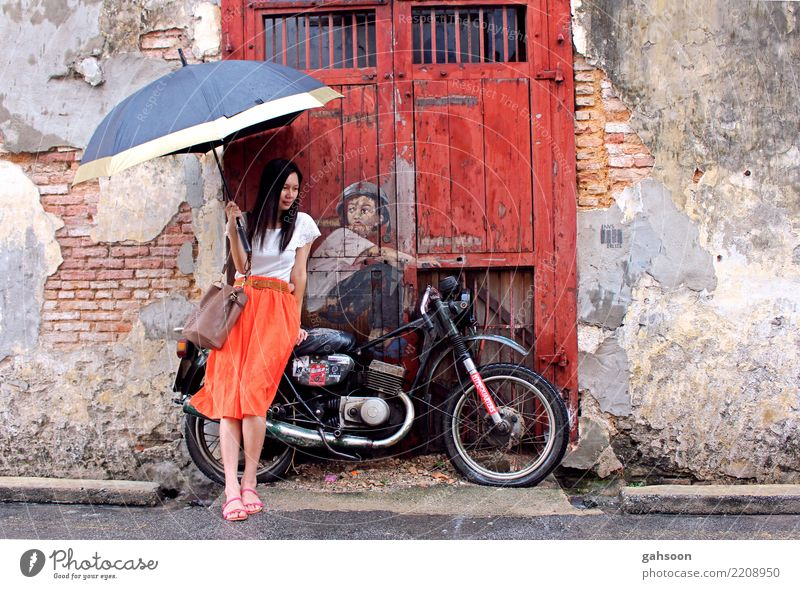 Girl, bike, umbrella Woman Human being Vacation & Travel Town Relaxation House (Residential Structure) Adults Street Wall (building) Wall (barrier) Fashion
