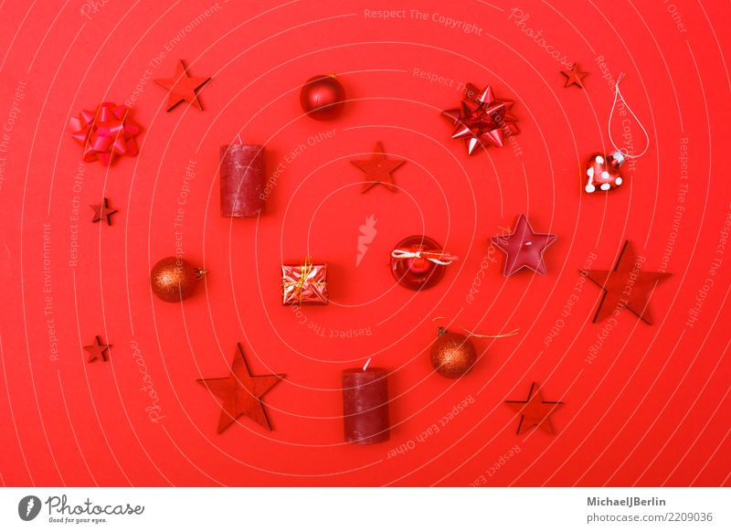 Red ornaments for Christmas on a red background Christmas & Advent Dominant color blocking Ornament Decoration Winter Unicoloured favourite colour Candle Stars
