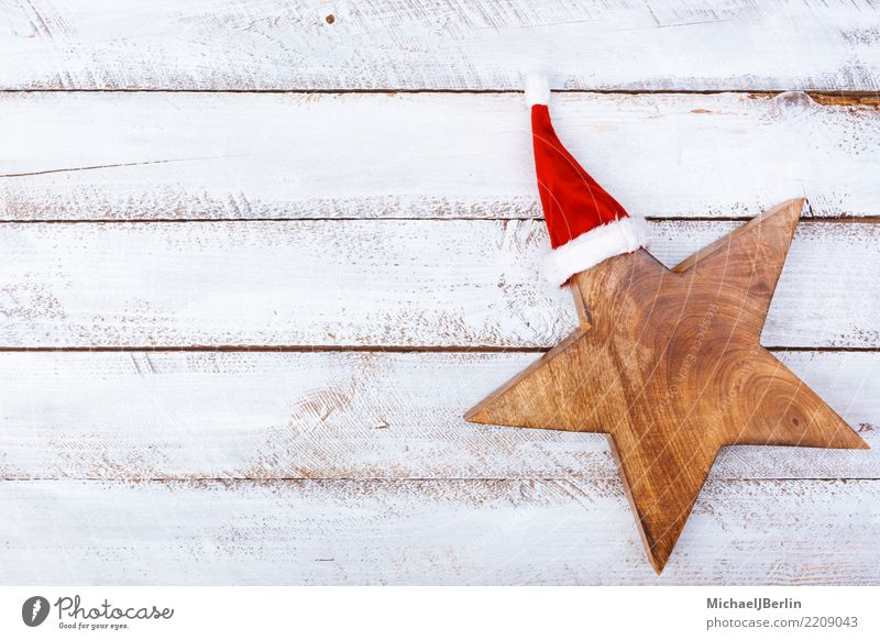Christmas & Advent White Red Winter Wood Stars Symbols and metaphors Cap Anticipation Santa Claus Public Holiday Minimalistic Grunge
