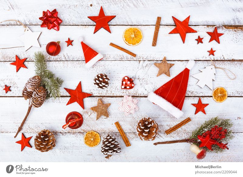 Christmas Elements of Decoration and Food Winter Christmas & Advent Red White Chaos Arranged Grunge Eating Candy Cinnamon Cap Background picture flatlay