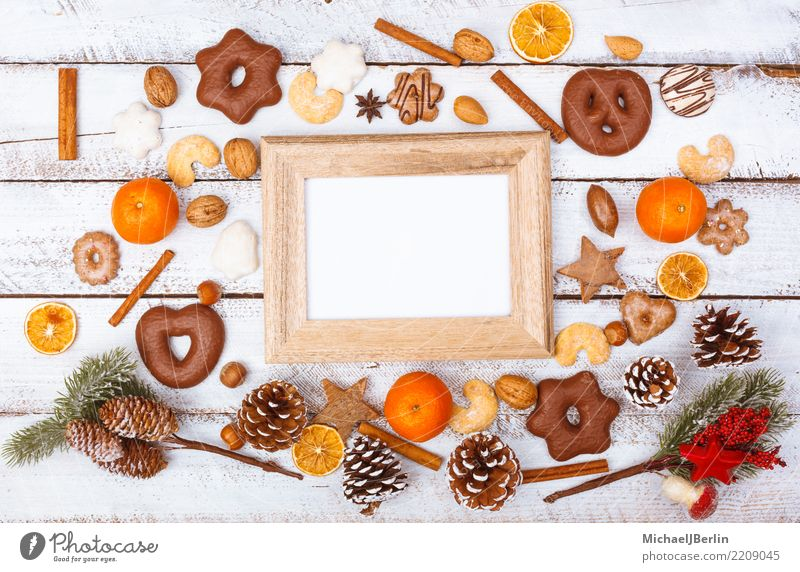 Picture frame on table with Christmas decoration and food Winter Christmas & Advent Chaos Arranged Grunge flat lay flatlay Frame Image Empty Places White