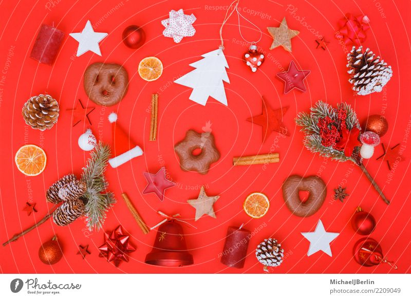 Christmas decoration and food on red background Christmas & Advent Red Decoration Eating Winter Colour Chaos flat lay Bird's-eye view Versatile Orange Cinnamon