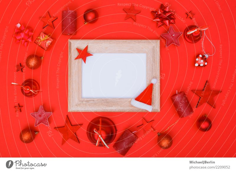 Flat lay Weihachten with dominant red Winter Christmas & Advent Red Colorkey Picture frame Copy Space Frame White Empty Photography Ornament flat lay Above