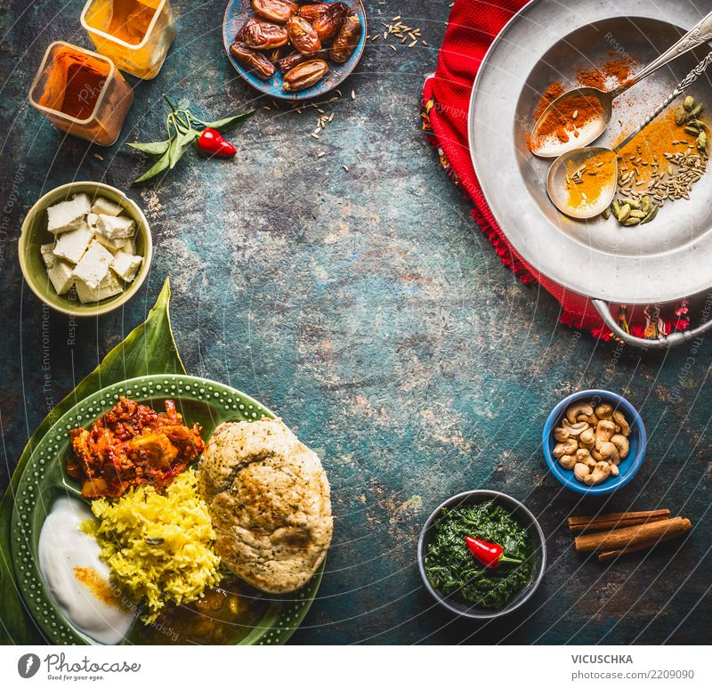 Background with Indian food Food Nutrition Lunch Dinner Organic produce Vegetarian diet Diet Asian Food Crockery Plate Bowl Spoon Restaurant Design Style