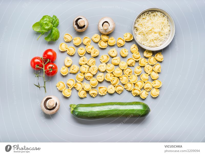 Tortellini with ingredients for vegetarian cooking Food Vegetable Nutrition Lunch Organic produce Vegetarian diet Diet Italian Food Style Design Healthy Eating