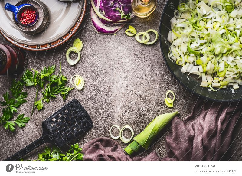 Sliced leek in pan on kitchen table Background Food Vegetable Soup Stew Herbs and spices Nutrition Lunch Organic produce Vegetarian diet Diet Slow food Crockery