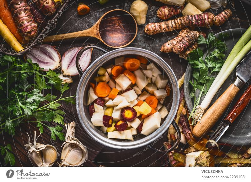 Saucepan with diced colourful root vegetables Food Vegetable Soup Stew Herbs and spices Nutrition Lunch Dinner Organic produce Vegetarian diet Diet Crockery Pot