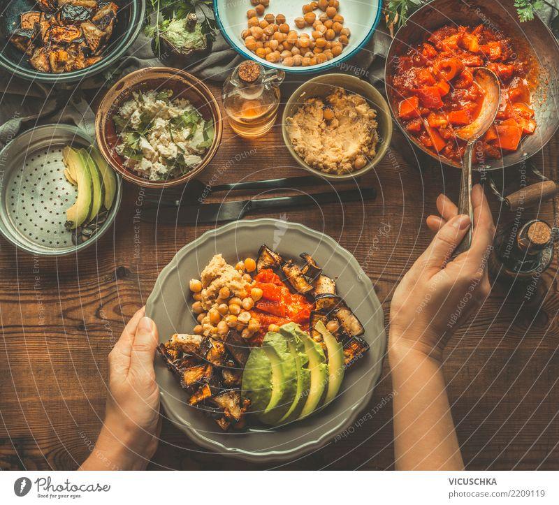 Vegetarian meal Food Vegetable Lettuce Salad Nutrition Lunch Organic produce Vegetarian diet Diet Crockery Plate Bowl Cutlery Style Design Healthy