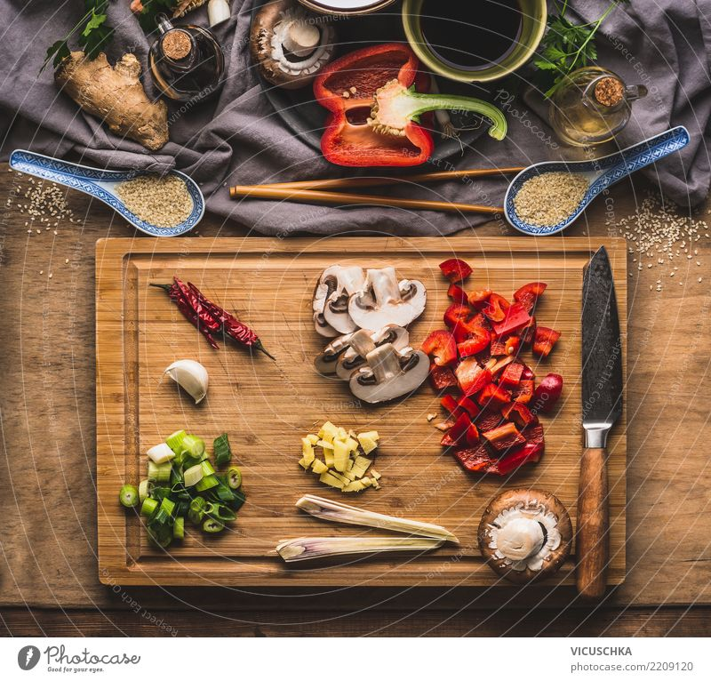 Healthy Eating Style Food Design Living or residing Nutrition Table Herbs and spices Kitchen Vegetable Organic produce Restaurant Crockery Cooking Knives Diet