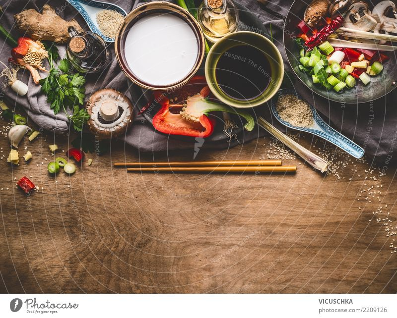 Ingredients for Asian cuisine Food Vegetable Herbs and spices Nutrition Organic produce Vegetarian diet Diet Asian Food Crockery Bowl Style Design