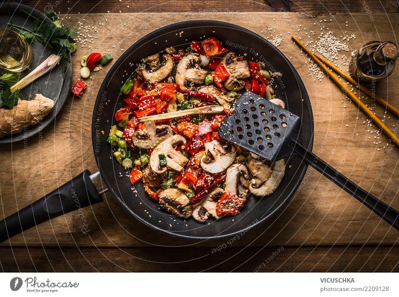 Vegan stir fry in pan on wooden background Food Vegetable Nutrition Organic produce Vegetarian diet Diet Asian Food Pan Life Design Style Vegan diet Dish
