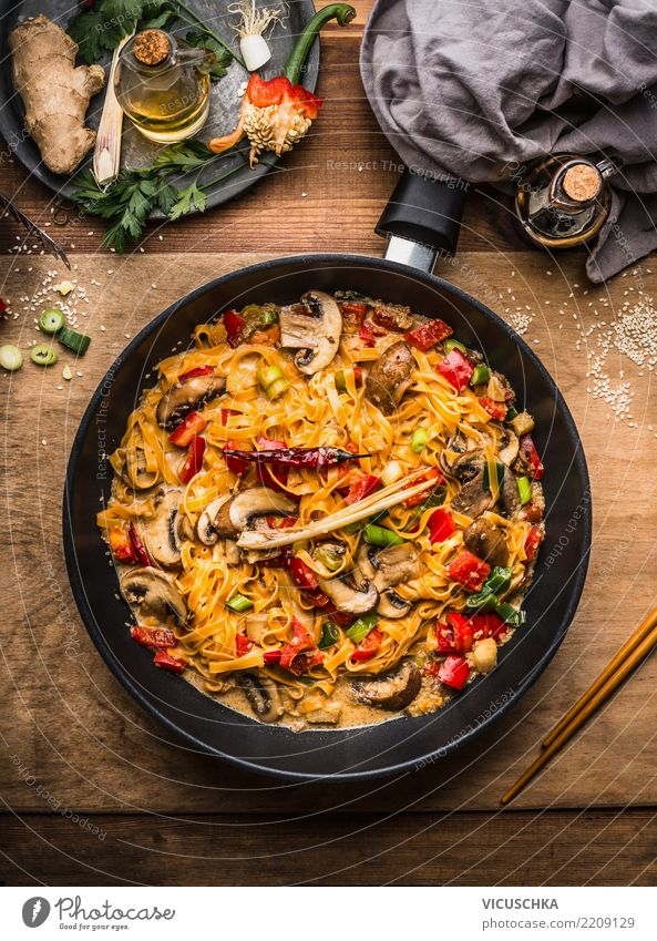 Vegetarian noodles with vegetables and creamy sauce Food Vegetable Herbs and spices Cooking oil Nutrition Lunch Dinner Organic produce Vegetarian diet Diet