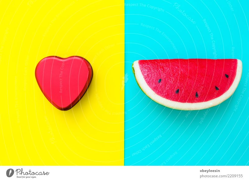 Pattern red watermelon on background. Flat lay, top view Fruit Dessert Nutrition Vegetarian diet Diet Summer Nature Fresh Delicious Natural Juicy Green Red