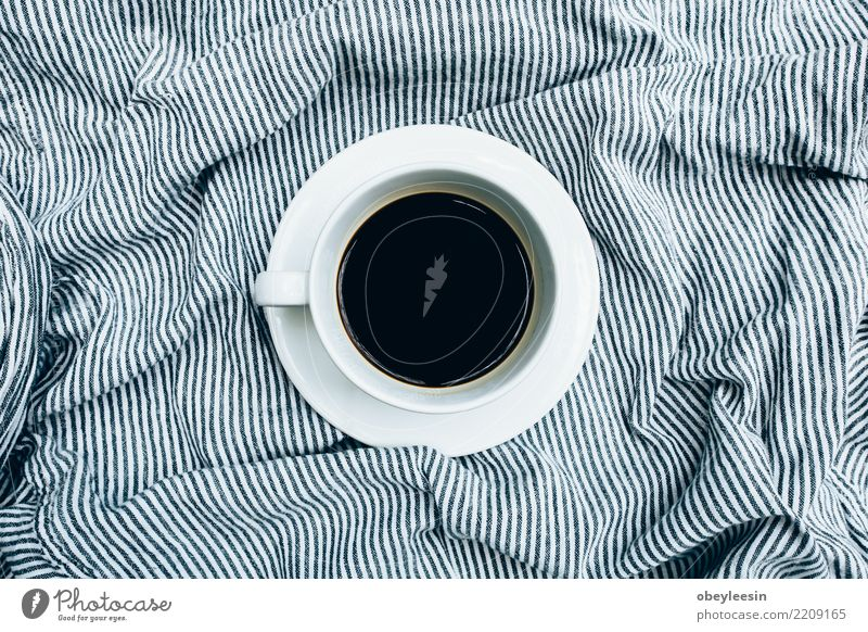 Cup of coffee for morning, top view Breakfast Beverage Coffee Espresso Life Table Cloth Old Dark Hot Natural Black Aromatic Linen Caffeine Grunge Rustic sack