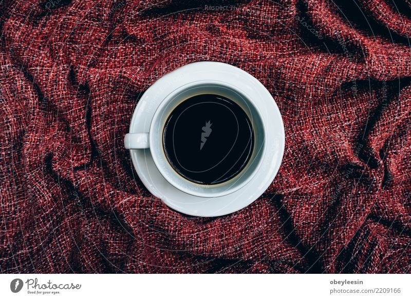 Cup of coffee for morning, top view Breakfast Beverage Coffee Espresso Life Cloth Old Dark Hot Natural Brown Black Aromatic Linen Caffeine Grunge Rustic sack