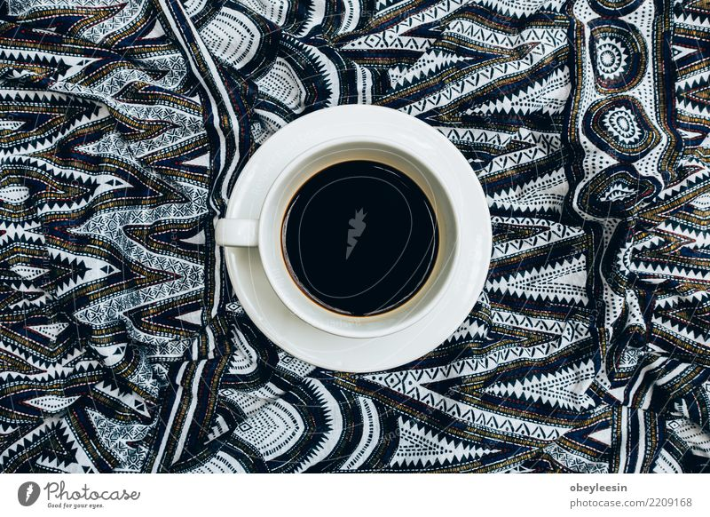 Cup of coffee for morning, top view Breakfast Beverage Coffee Espresso Life Table Cloth Old Dark Hot Natural Brown Black Aromatic Beans Linen Caffeine Grunge