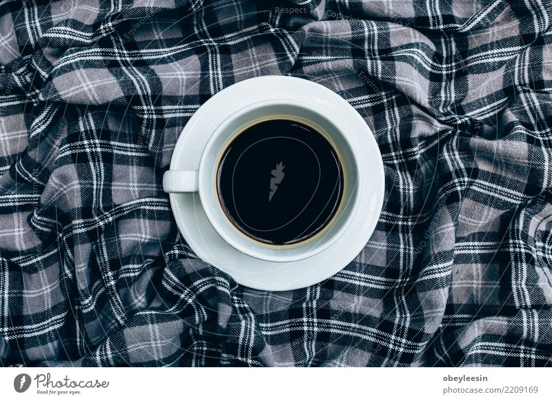Cup of coffee for morning, top view Breakfast Beverage Coffee Espresso Life Cloth Old Dark Hot Natural Black Aromatic Linen Caffeine Rustic sack Scent