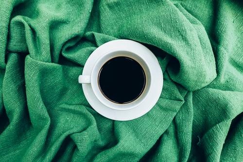 Cup of coffee for morning, top view Breakfast Beverage Coffee Espresso Life Cloth Old Dark Hot Natural Black Aromatic Linen Caffeine Grunge Rustic sack Scent