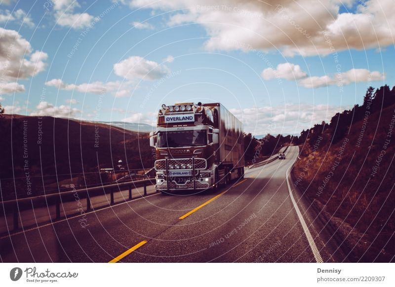 Norway road Transport Street Overpass Truck Driving Vacation & Travel Calm Multicoloured Clouds Town Colour photo