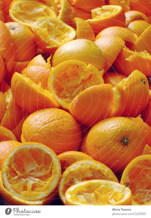 Vitamin C +++ Food Fruit Orange Nutrition Organic produce Vegetarian diet Lie Exotic Broken Juicy Yellow Healthy Eating Vitamin-rich Empty squeezed Colour photo