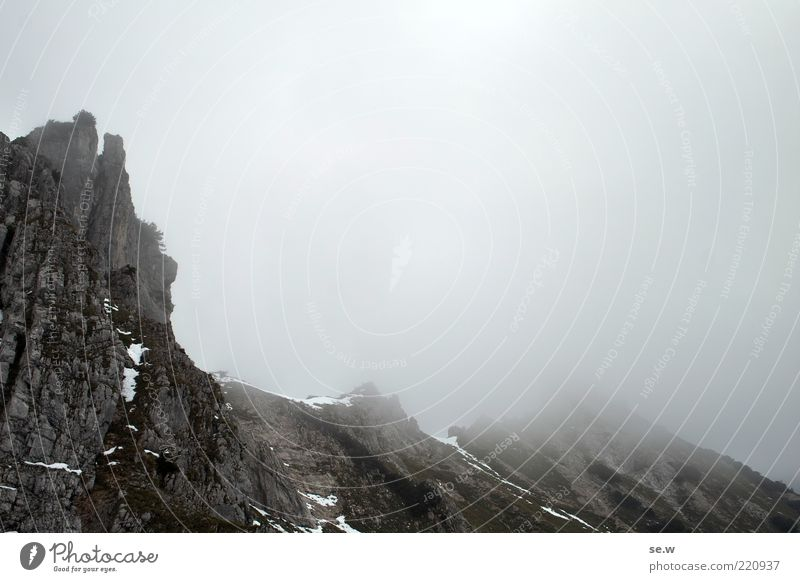 Nature Summer Clouds Loneliness Dark Autumn Mountain Gray Fog Rock Alps Elements Austria Bavaria Sharp-edged Attentive