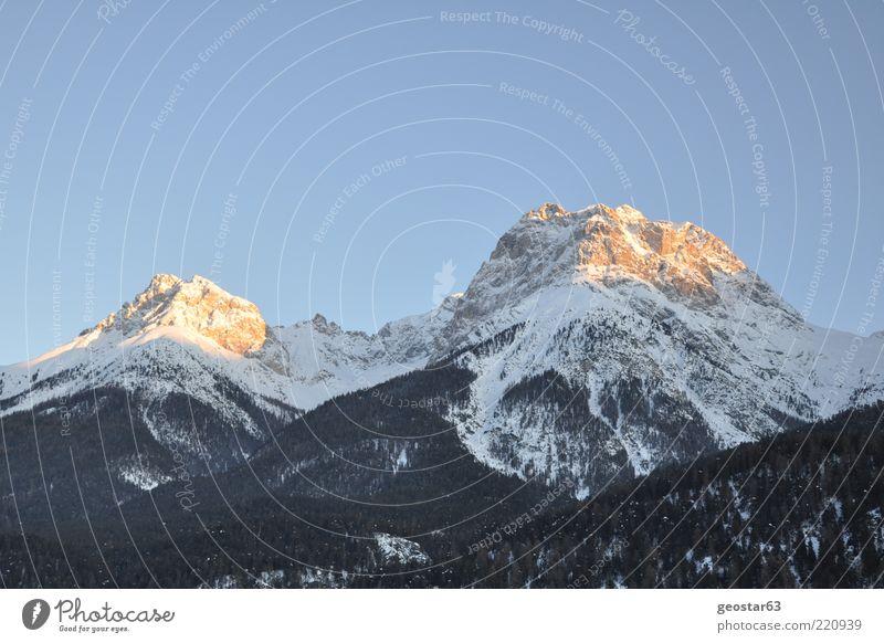 Beautiful Vacation & Travel Winter Mountain Landscape Alps Peak Beautiful weather Blue sky Sky blue Cloudless sky Snowcapped peak Mountain forest Clear sky