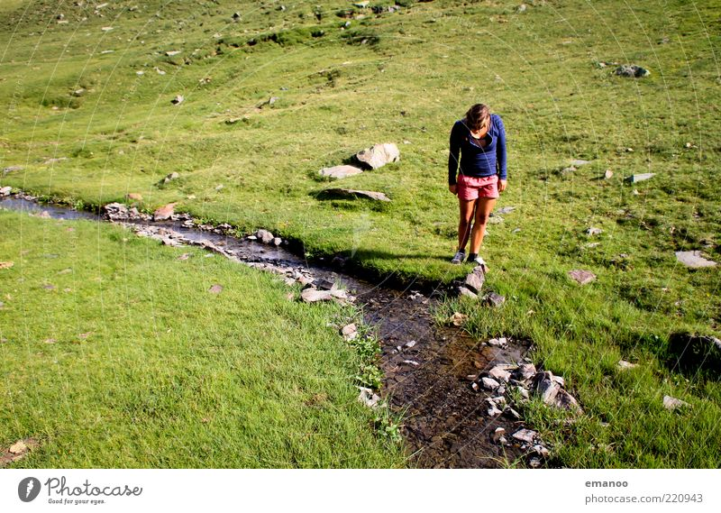 Human being Nature Youth (Young adults) Water Vacation & Travel Summer Joy Loneliness Calm Adults Relaxation Cold Landscape Mountain Freedom Grass