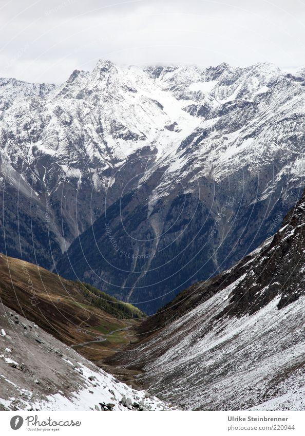 Above Vacation & Travel Tourism Far-off places Snow Mountain Nature Landscape Elements Autumn Rock Alps Peak Snowcapped peak Glacier Canyon Sölden