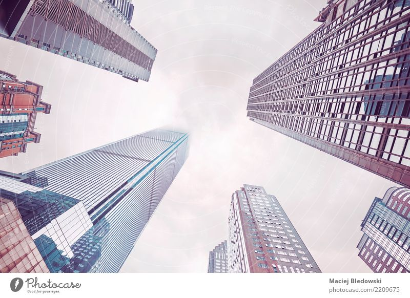 Skyscrapers in clouds. Workplace Office Clouds Town Downtown Overpopulated High-rise Bank building Building Architecture Wall (barrier) Wall (building) Modern