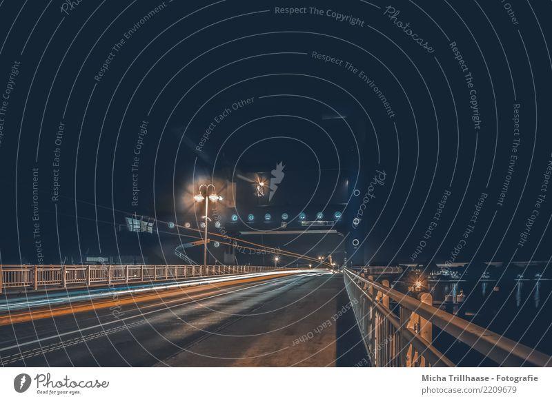 Vacation & Travel Blue Town Red Dark Black Street Architecture Cold Orange Transport Illuminate Car Fog Speed Bridge