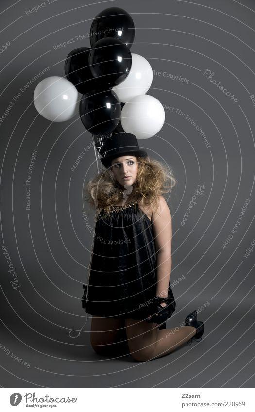 Youth (Young adults) Beautiful White Black Dark Feminine Style Dream Sadness Fashion Blonde Adults Elegant Clothing Esthetic