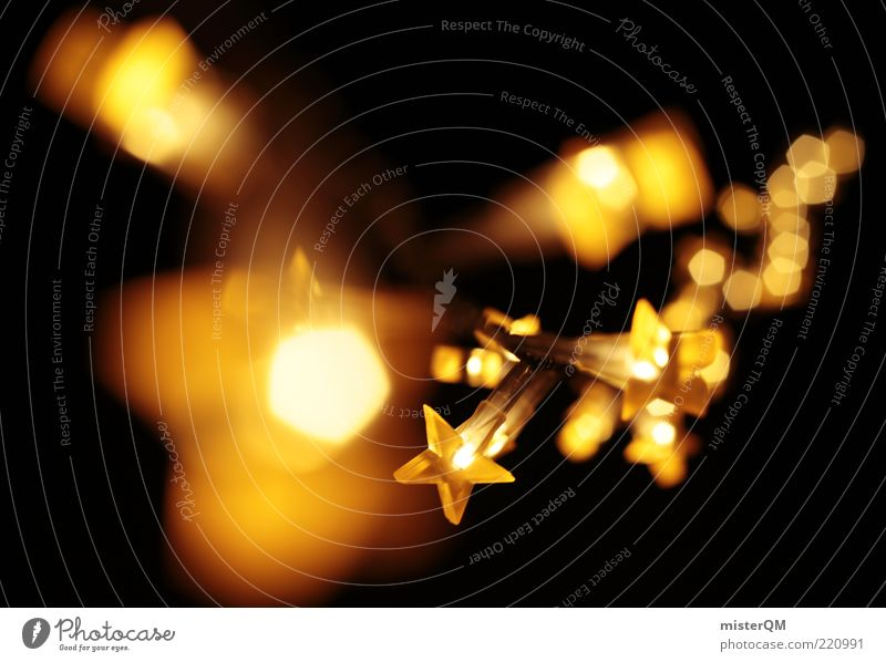 Golden Christmas. Art Esthetic Lighting Lighting element Christmas & Advent Christmas decoration Christmas star Winter December Blur Warmth Anticipation Cozy