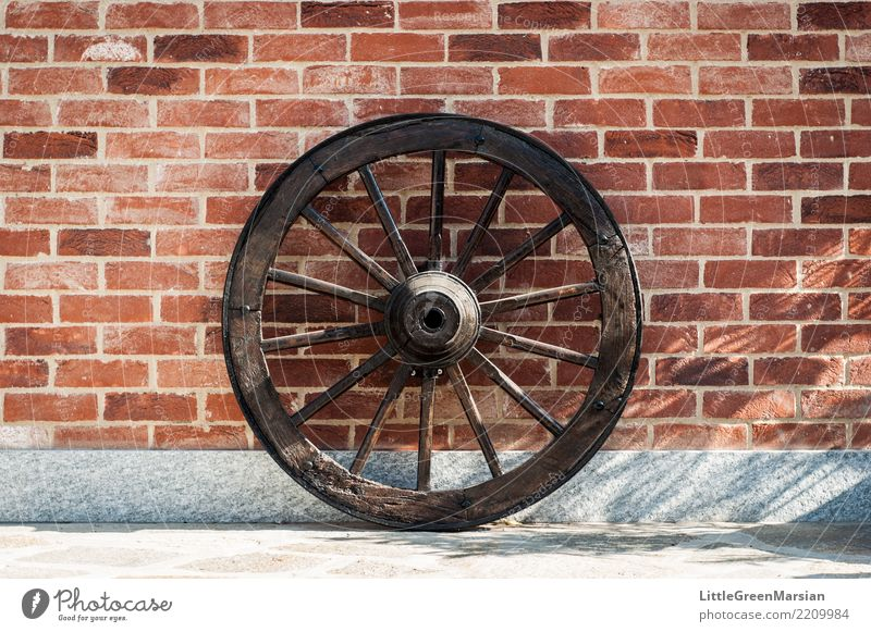 Rollin' rollin' rollin'... House (Residential Structure) Wall (barrier) Wall (building) Facade Terrace Round Brick wall Wheel Wood Old Transport Farm Antique