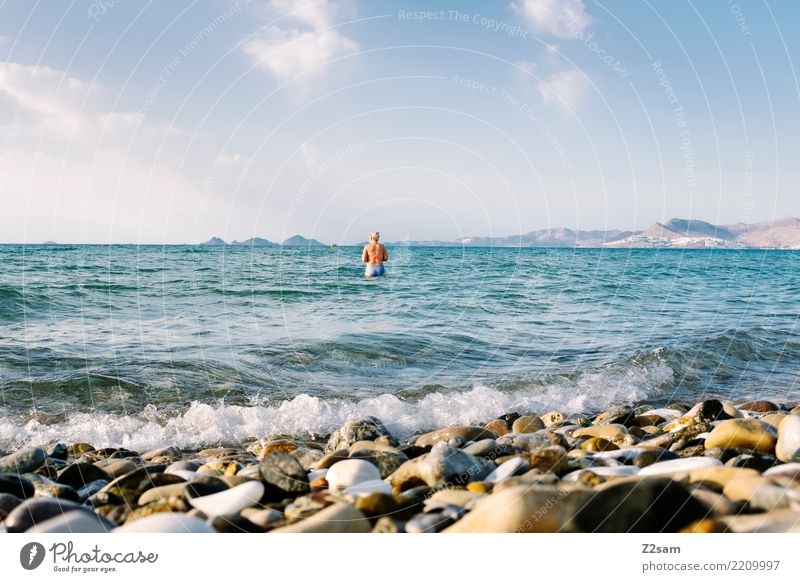 Sky Nature Vacation & Travel Youth (Young adults) Young woman Blue Summer Water Landscape Ocean Relaxation Mountain 18 - 30 years Adults Natural Coast