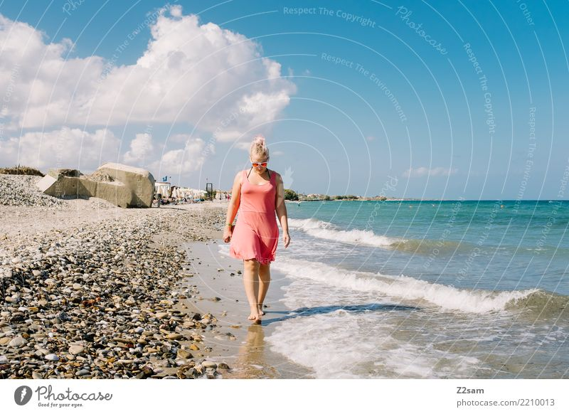 beach walk Vacation & Travel Freedom Summer vacation Beach Ocean Island Young woman Youth (Young adults) 18 - 30 years Adults Nature Landscape Sun