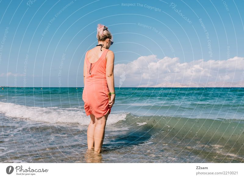 the other day on the beach Elegant Vacation & Travel Summer vacation Ocean Young woman Youth (Young adults) 18 - 30 years Adults Nature Landscape Sun Coast