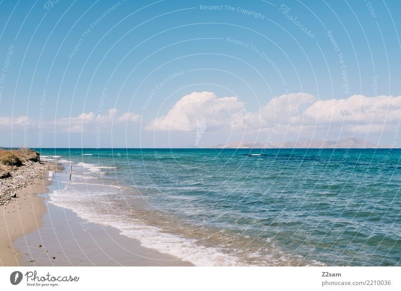 cos Vacation & Travel Summer vacation Beach Ocean Nature Landscape Sand Sky Sun Beautiful weather Coast Island Infinity Natural Blue Turquoise Calm Loneliness
