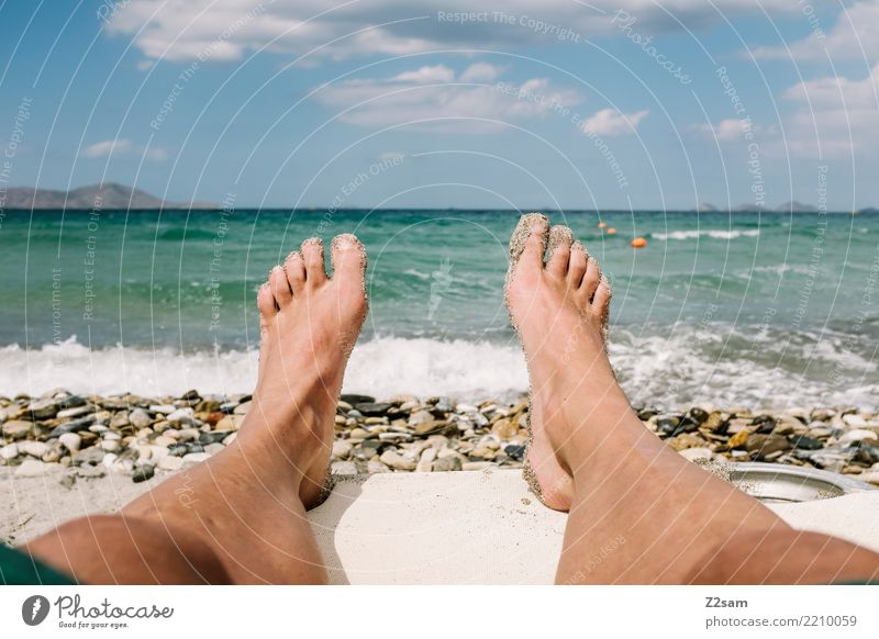 Nature Vacation & Travel Youth (Young adults) Summer Young man Landscape Ocean Relaxation Calm Beach 18 - 30 years Adults Legs Coast Feet Sand
