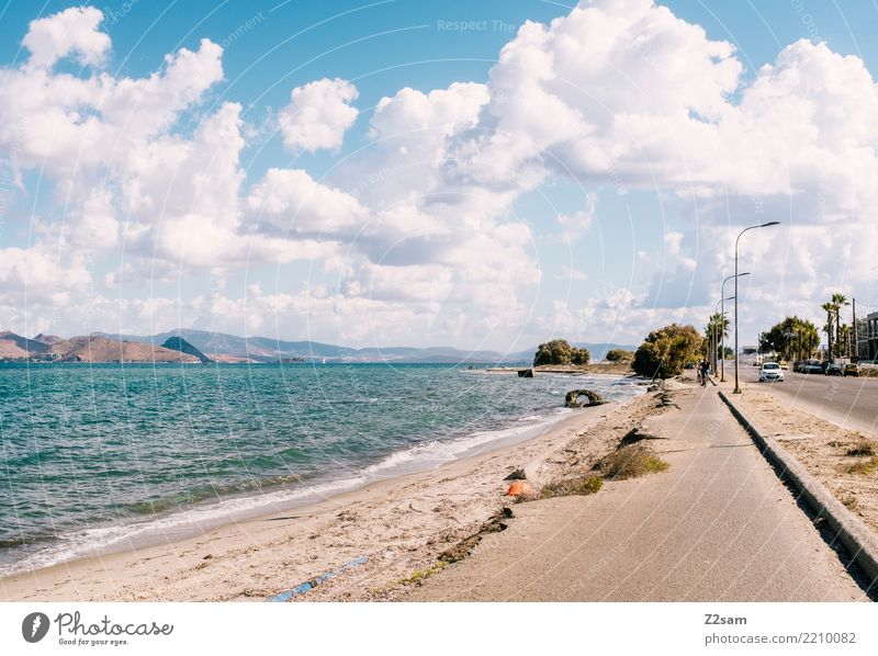 Highway to Kos Vacation & Travel Beach Ocean Island Nature Landscape Clouds Summer Beautiful weather Coast Town Port City Street Cycle path Simple Modern Blue