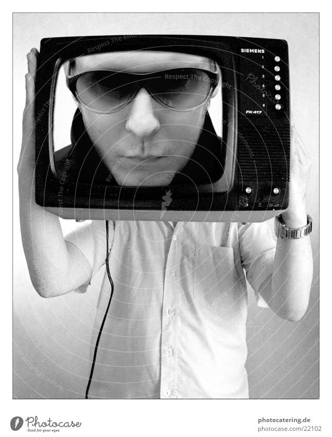 TV Man Eyeglasses Seventies Television Cool (slang) Siemens Black & white photo