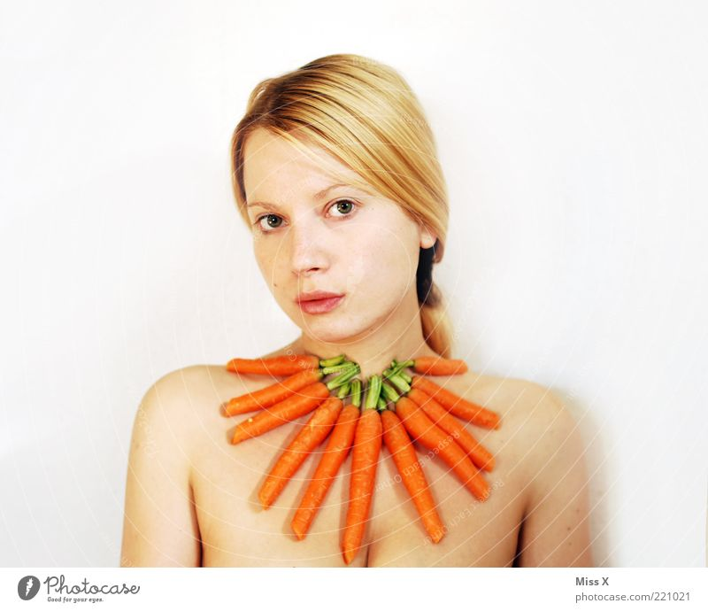 Carrot II Food Vegetable Nutrition Organic produce Human being Feminine Young woman Youth (Young adults) 1 18 - 30 years Adults Accessory Jewellery Fresh