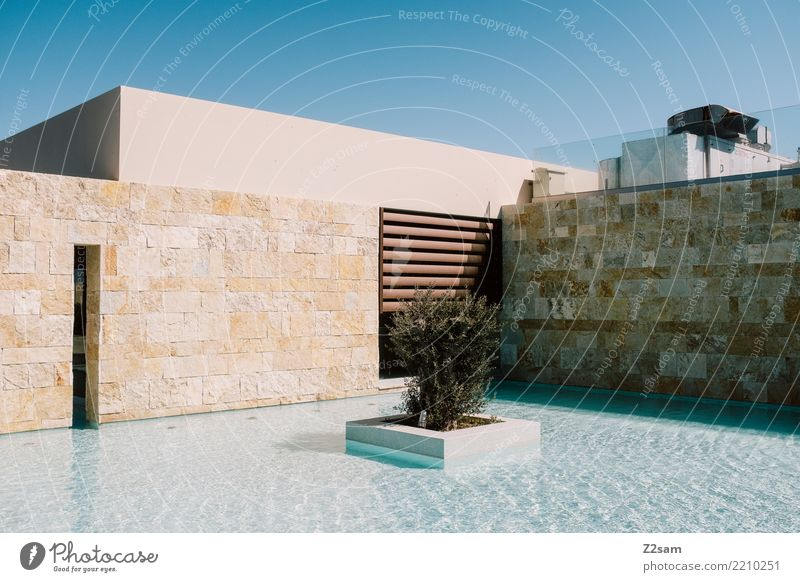 Sky Vacation & Travel Summer Town Water Relaxation Calm Architecture Building Design Modern Esthetic Arrangement Idyll Simple Wellness