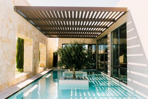 minimalism III Ocean Sunlight Summer Tree Manmade structures Building Architecture Swimming pool Esthetic Sharp-edged Elegant Fresh Modern Town Design