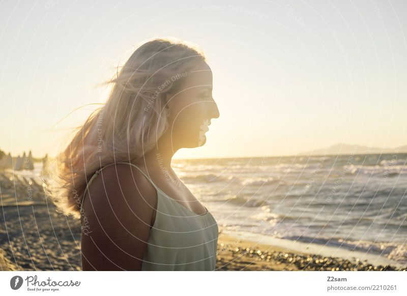 Vacation & Travel Youth (Young adults) Young woman Summer Beautiful Landscape Ocean Relaxation Calm Beach 18 - 30 years Travel photography Adults Warmth